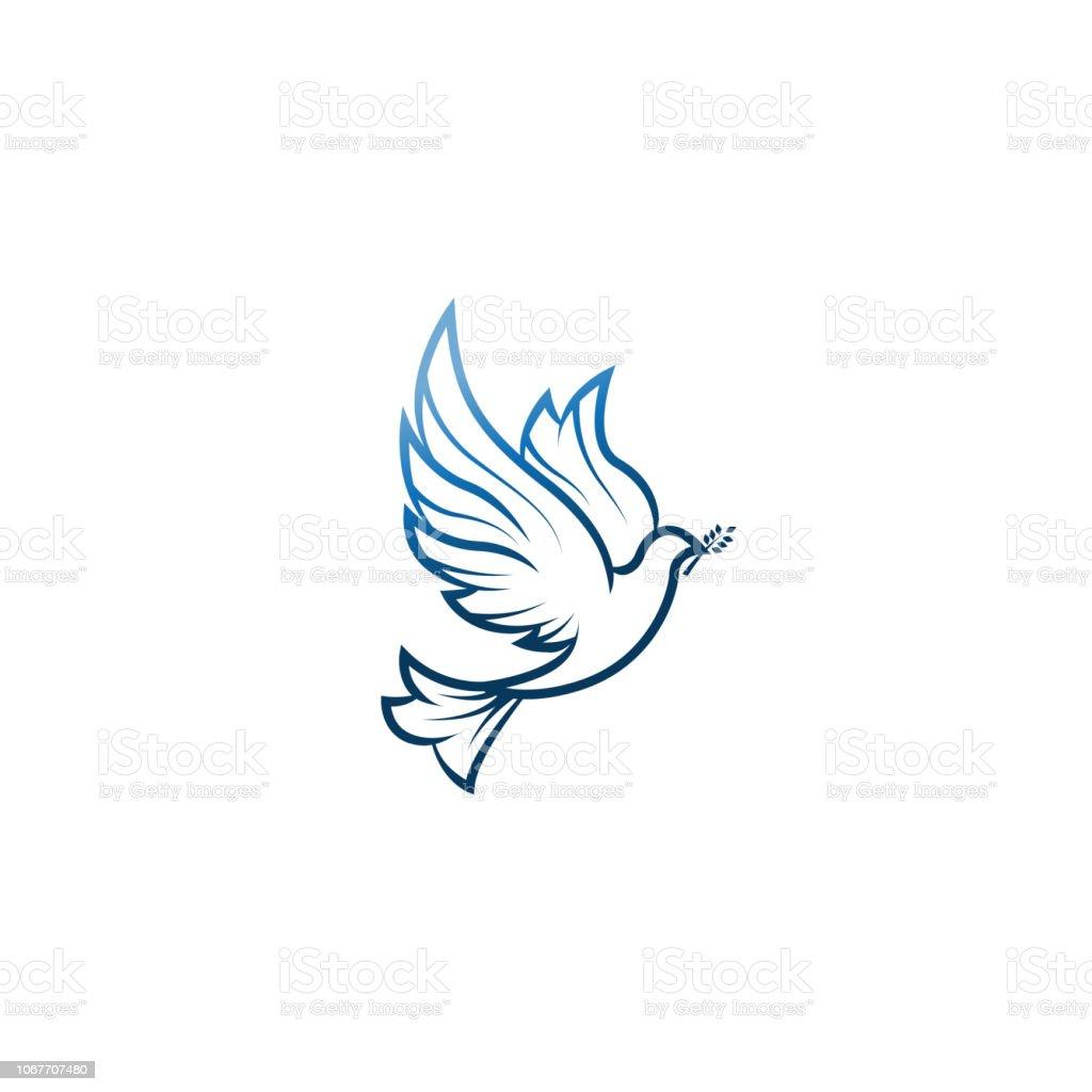 Taube des Friedens. Abbildung mit Taube mit einem Olivenzweig symbolisiert Frieden auf Erden. Strichzeichnungen Taube. Tinte Malstil. Strichzeichnungen für Logo und Design. Vektor-Illustration. Frieden-Logo. - Lizenzfrei Abstrakt Vektorgrafik