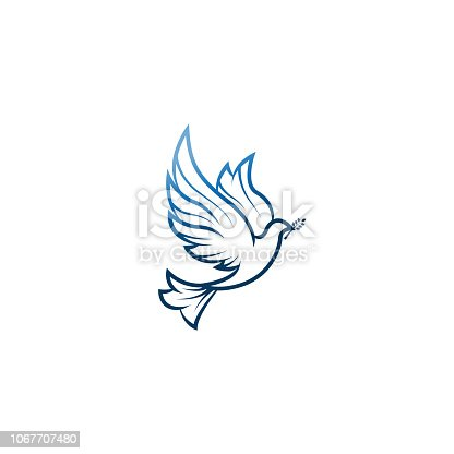 istock Dove Of Peace. Illustration with dove holding an olive branch symbolizing peace on earth. LIne Art dove. Ink painting style. Line art for logo and design. Vector illustration. Peace logo. 1067707480