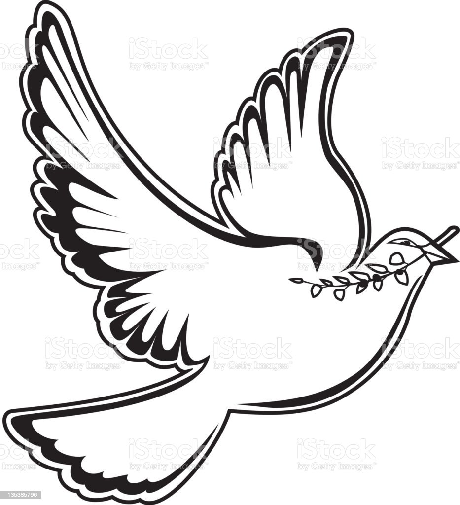 Dove of peace in black and white stock vector art for Black and white only