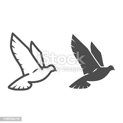 istock Dove of peace line and solid icon, world peace concept, bird sign on white background, flying dove icon in outline style for mobile concept and web design. Vector graphics. 1285394761