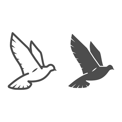 Dove of peace line and solid icon, world peace concept, bird sign on white background, flying dove icon in outline style for mobile concept and web design. Vector graphics.