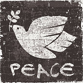 istock Dove of Peace on a black painted wall 1303264340