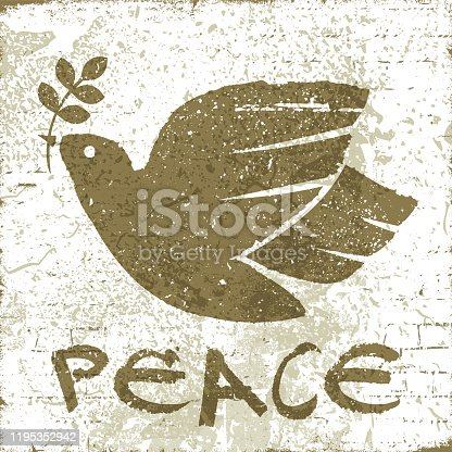 istock Dove of Peace on a wall 1195352942
