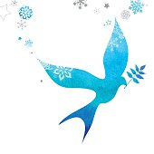 Elegant dove of peace flying with a sprig of olive in a white background with stars and snowflakes which are falling over her wings.The texture simulates a watercolor. Vector file EPS AI10 easy to edit. Include a JPG of 2800 X 2800px and 300ppp. See more similar works in my portfolio.