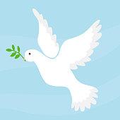 Dove of peace. Flat design, vector illustration, vector.