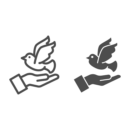 Dove on hand line and solid icon, charity concept, Pigeon with human palm sign on white background, Dove of peace flying from open hands icon in outline style mobile and web design. Vector graphics.