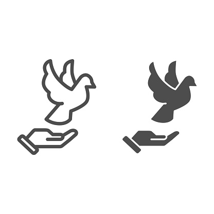 Dove on hand line and solid icon, world peace day concept, flying pigeon and human palm sign on white background, person hand and bird symbol outline style for mobile and web design. Vector graphics.