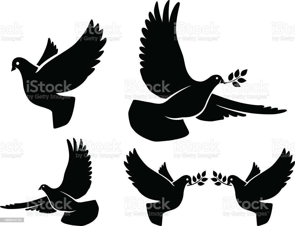 Dove silhouettes vector art illustration
