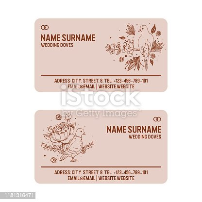 istock Dove sitting on twig with flowers sketch vintage vector illustration. White dove, pigeon, symbol of love, romance and innocence, wedding salon visiting card. 1181316471