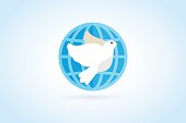 Dove vector icon. Dove and earth. Dove symbol. Bird dove monogram. Peace world bird. Bird vector. Dove silhouette, Globe union brand, care clinic, togetherness concept