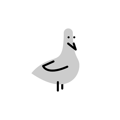 Dove. Vector logo in bold line style