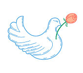 A dove with a flower on a white background. Vector illustration.
