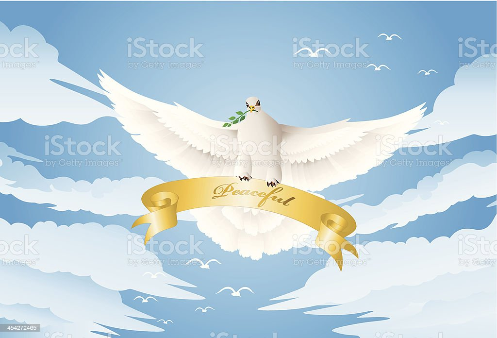 Dove with a twig royalty-free stock vector art