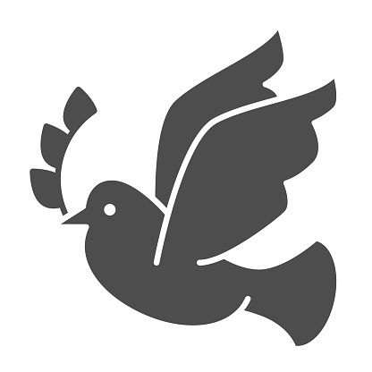 Dove with a wreath branch solid icon. Pigeon carries an olive branch glyph style pictogram on white background. Easter and bird dove peace for mobile concept and web design. Vector graphics.