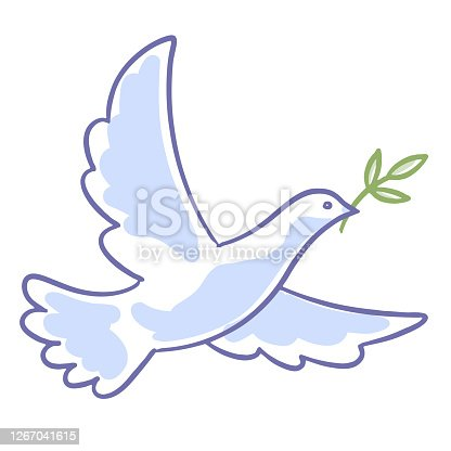 istock Dove with an olive branch 1267041615