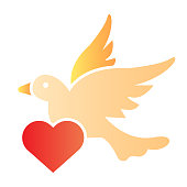 Dove with heart flat icon. Romantic dove carrying a heart illustration isolated on white. Wedding dove bird with heart gradient style design, designed for web and app. Eps 10