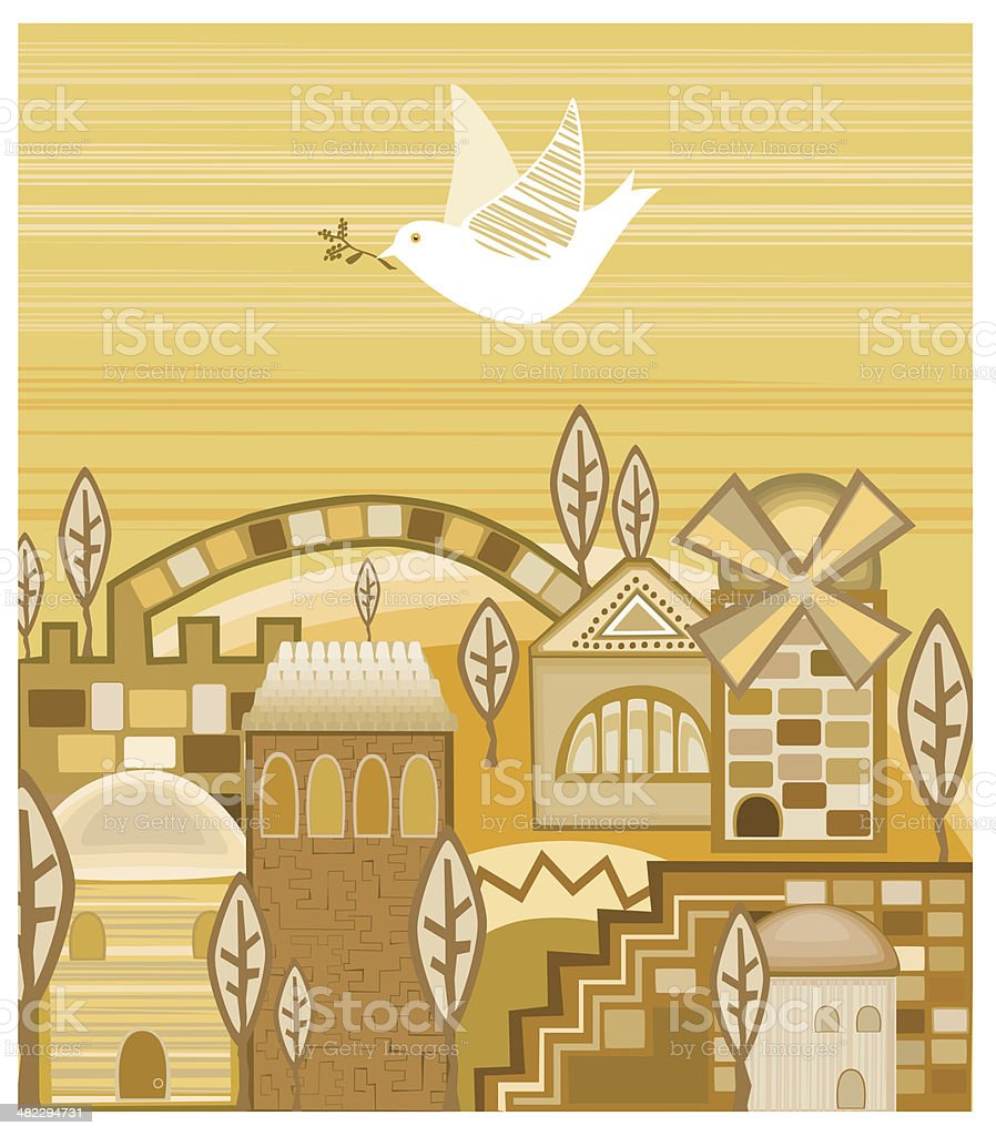 Dove With Olive Branch Flying Above  Jerusalem of Gold royalty-free dove with olive branch flying above jerusalem of gold stock vector art & more images of abstract