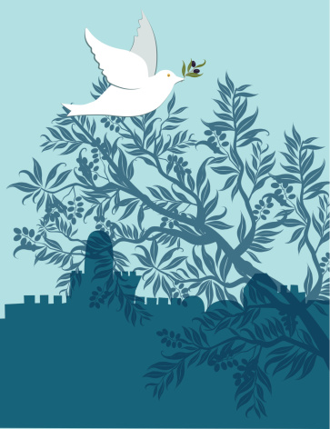 Dove With Olive Branch Flying Above Jerusalem