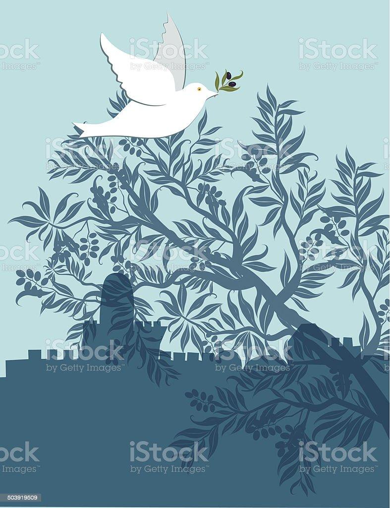 Dove com Olive Branch voando acima de Jerusalém - ilustração de arte em vetor