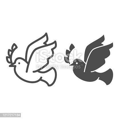 istock Dove with wreath branch line and solid icon. Pigeon carries an olive branch outline style pictogram on white background. Easter and bird dove peace for mobile concept and web design. Vector graphics. 1217217134