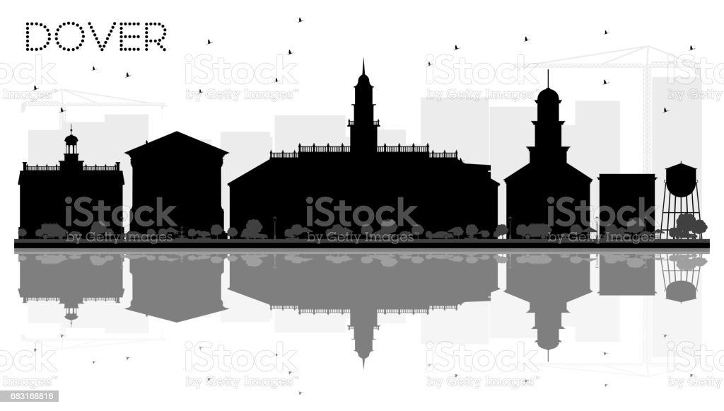 Dover City skyline black and white silhouette with reflections. 免版稅 dover city skyline black and white silhouette with reflections 向量插圖及更多 人 圖片