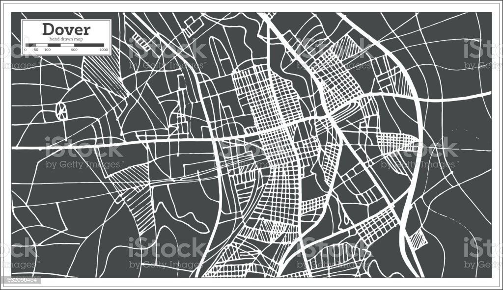 dover delaware usa city map in retro style outline map royalty free dover