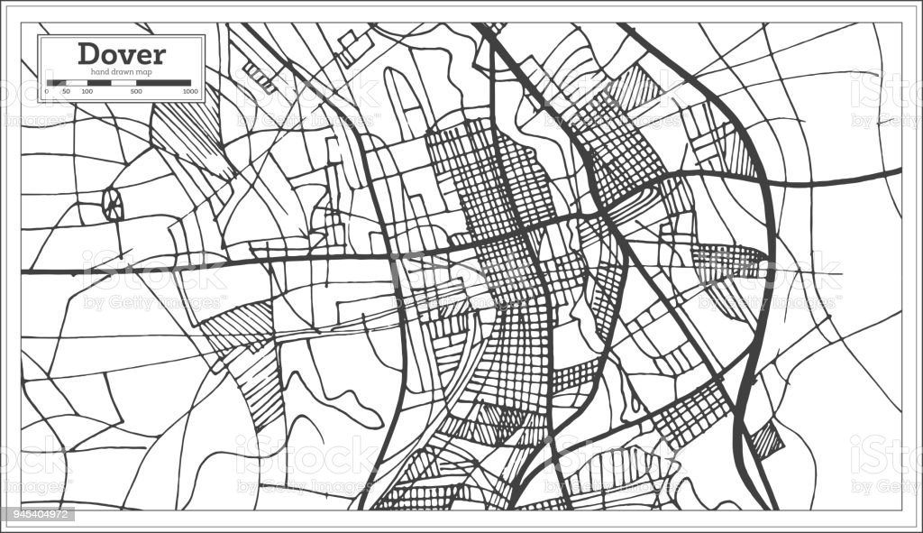 Dover Delaware Usa City Map In Retro Style Outline Map Stock Vector ...