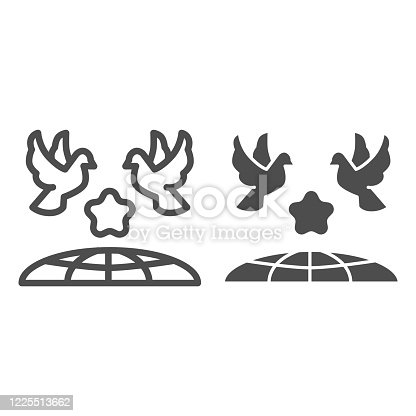 istock Doves and planet earth line and solid icon, International day of peace concept, Flying birds under world globe sign on white background, Two pigeons with star and planet symbol outline style. Vector. 1225513662