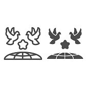 Doves and planet earth line and solid icon, International day of peace concept, Flying birds under world globe sign on white background, Two pigeons with star and planet symbol outline style. Vector