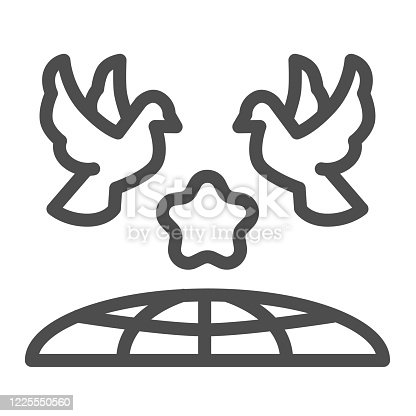 Doves and planet earth line icon, International day of peace concept, Flying birds under world globe sign on white background, Two pigeons with star and planet symbol outline style. Vector