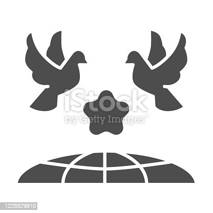 istock Doves and planet earth solid icon, International day of peace concept, Flying birds under world globe sign on white background, Two pigeons with star and planet symbol glyph style. Vector. 1225529910