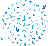 Doves and pigeons set in a circle for peace concept and wedding design. Flying blue birds sketch set. Vector illustration