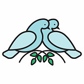 Abstract pigeons like symbol of love. Line style birds for concept design. Vector illustration.