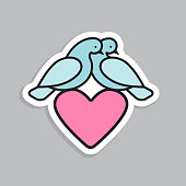 Abstract blue pigeons like symbol of love. Line style birds for concept design. Vector illustration.