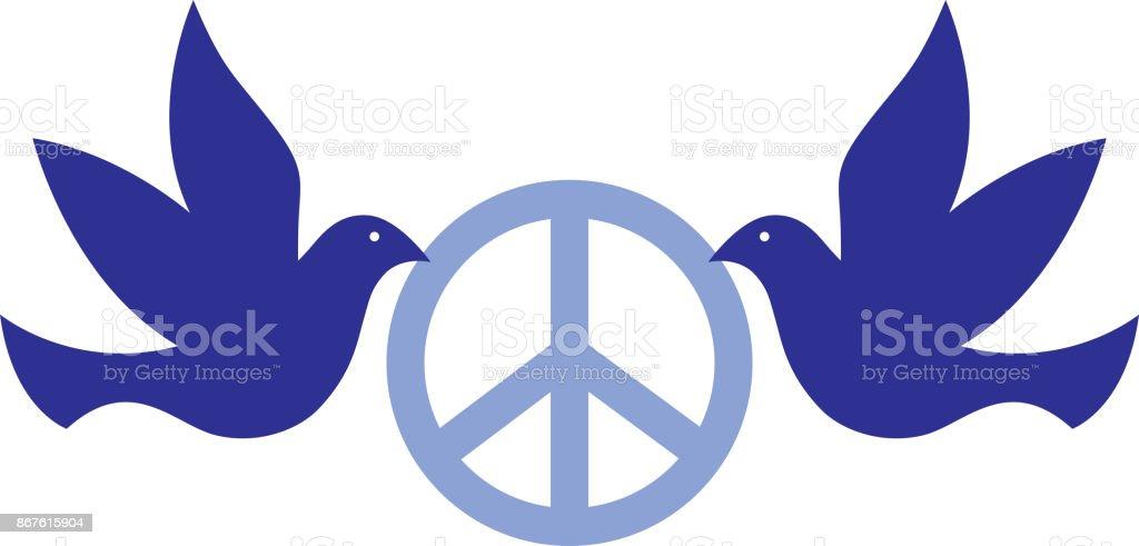 Doves Holding Peace Sign vector art illustration