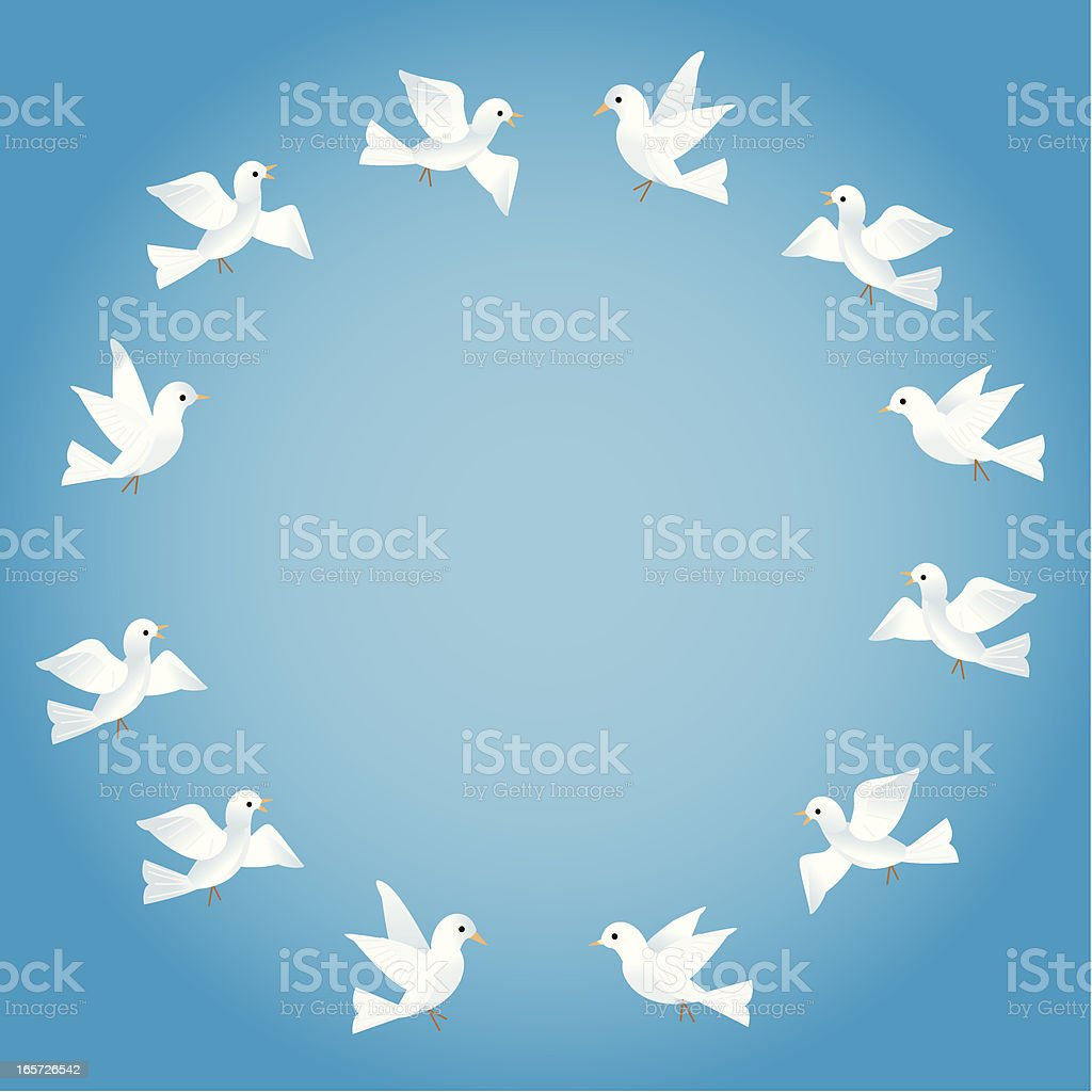 Doves in a Circle vector art illustration