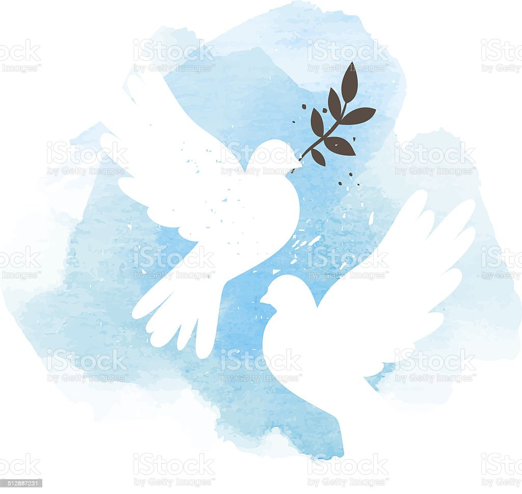 Doves on blue background vector art illustration