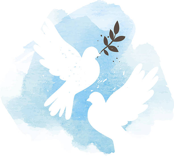 Doves on blue background Two vector white doves on blue watercolor background, postcard for international peace day symbols of peace stock illustrations