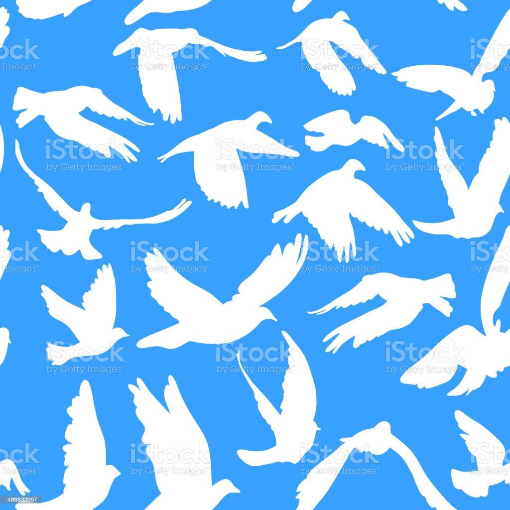 Doves pigeons seamless pattern blue background peace concept, wedding design. vector art illustration