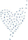 Doves and pigeons set heart shape for peace concept and wedding design. Flying blue birds set. Vector illustration