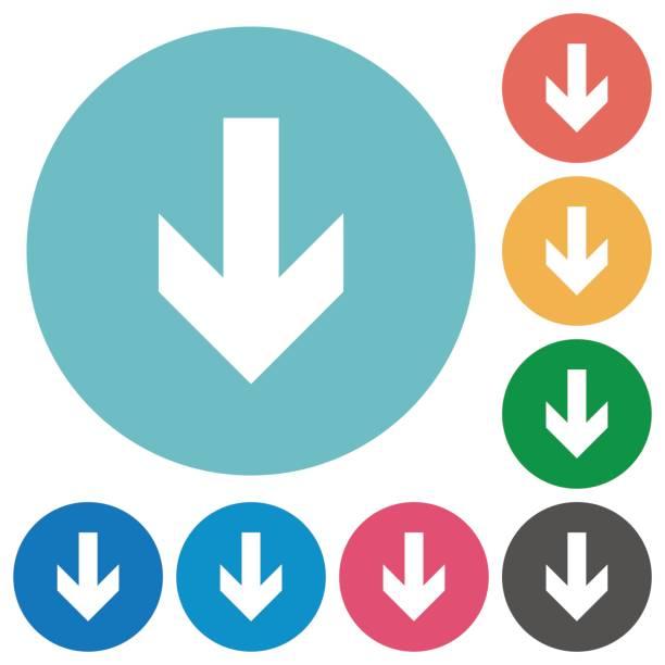 Unten flach Pfeilsymbole – Vektorgrafik