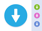Down Arrow - Round Glyph Buttons