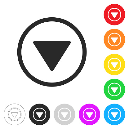 Down button. Flat icons on buttons in different colors