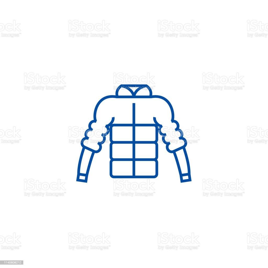 369994cd6da Down jacket line icon concept. Down jacket flat vector symbol, sign,  outline illustration
