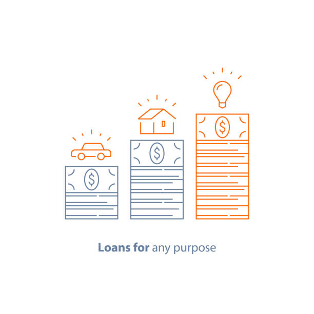 Down payment, mortgage loan, car credit, money for any purpose, budget for purchase, vector line icon Mortgage loan, car credit, money for any purpose, down payment, budget for purchase, vector line icon thin stroke bundle stock illustrations