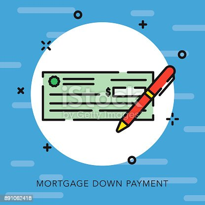 istock Down Payment Open Outline Real Estate Icon 891062418