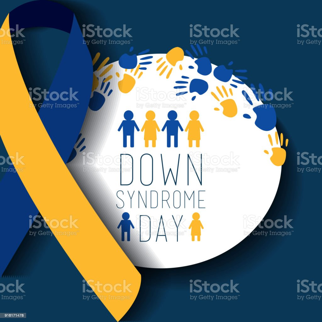 down syndrome day badge people painted hands ribbon celebration vector art illustration