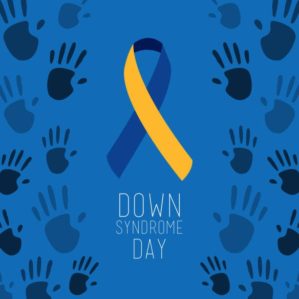 down syndrome day poster blue painted hands symbol vector art illustration