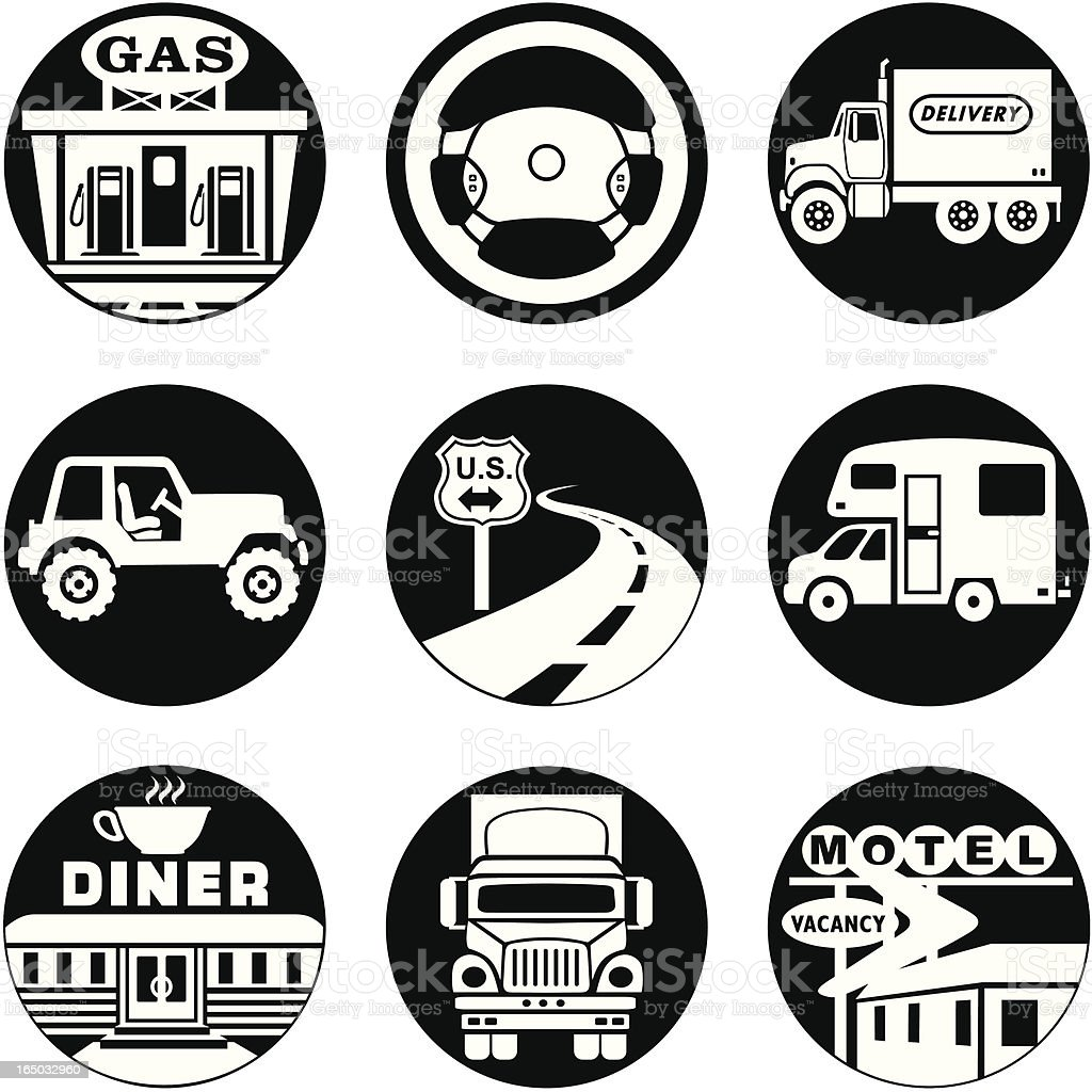 down the road icons reversed vector art illustration