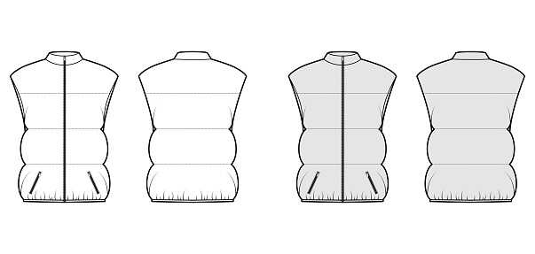 Down vest puffer waistcoat technical fashion illustration with sleeveless, stand collar, pockets, oversized, hip length